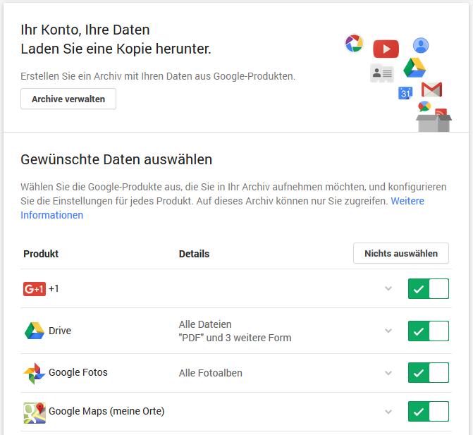 Google Daten herunterladen