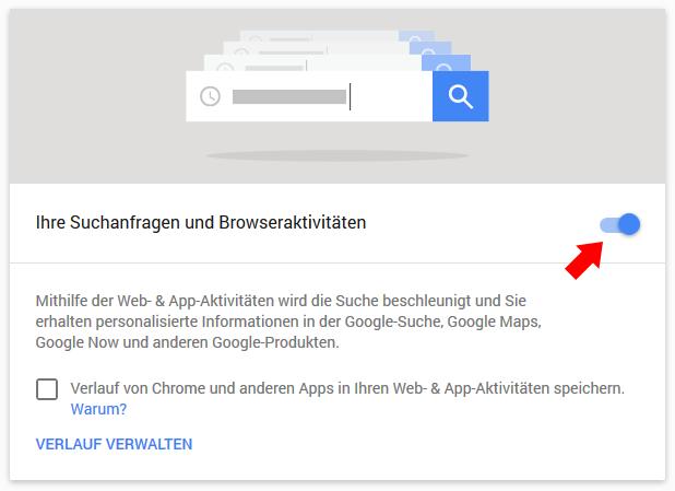 Google Datenspeicherung verhindern