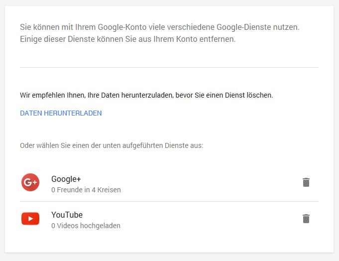 Google Dienste löschen