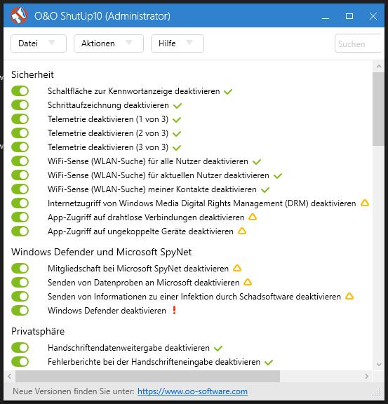 Windows 10 ShutUp Einstellungen